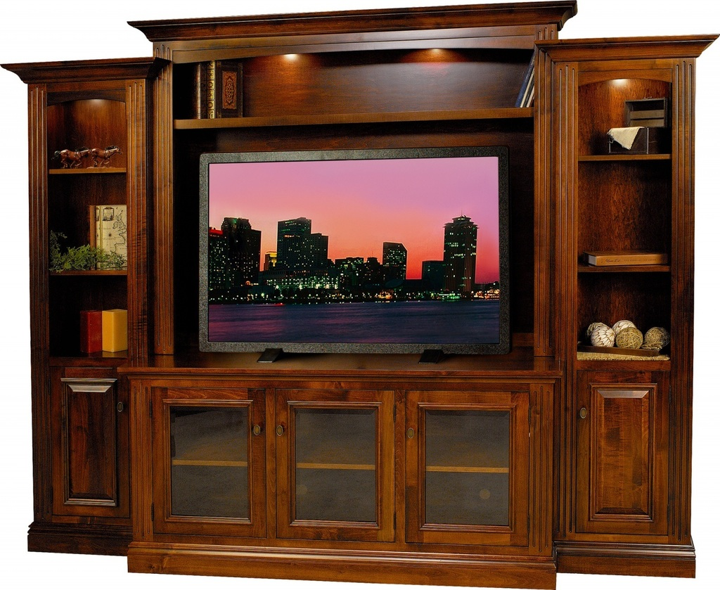 Wood Wall Units Amish Berlin Tv Entertainment Center  Surrey Street Rustic