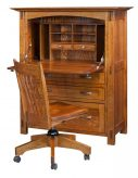 Amish Computer Secretary Desk Armoire Modesto Solid Wood Furniture Home Office1