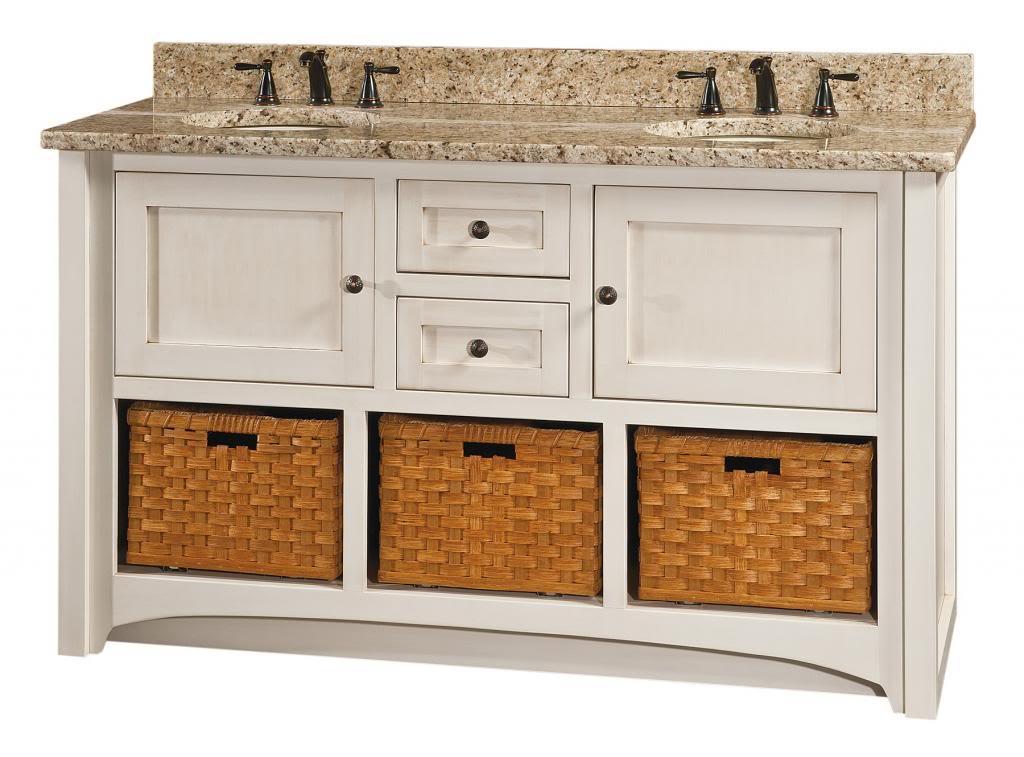 Amish Cottage Bathroom Vanity Free Standing Sink Granite Top Baskets