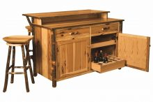 Amish Hickory Home Wine Bar Kitchen Island Set 2 Stools Solid Wood Cabin Lodge