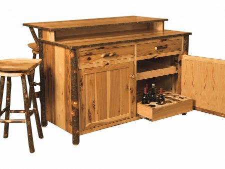 Amish Hickory Home Wine Bar Kitchen Island Set W/ Stools
