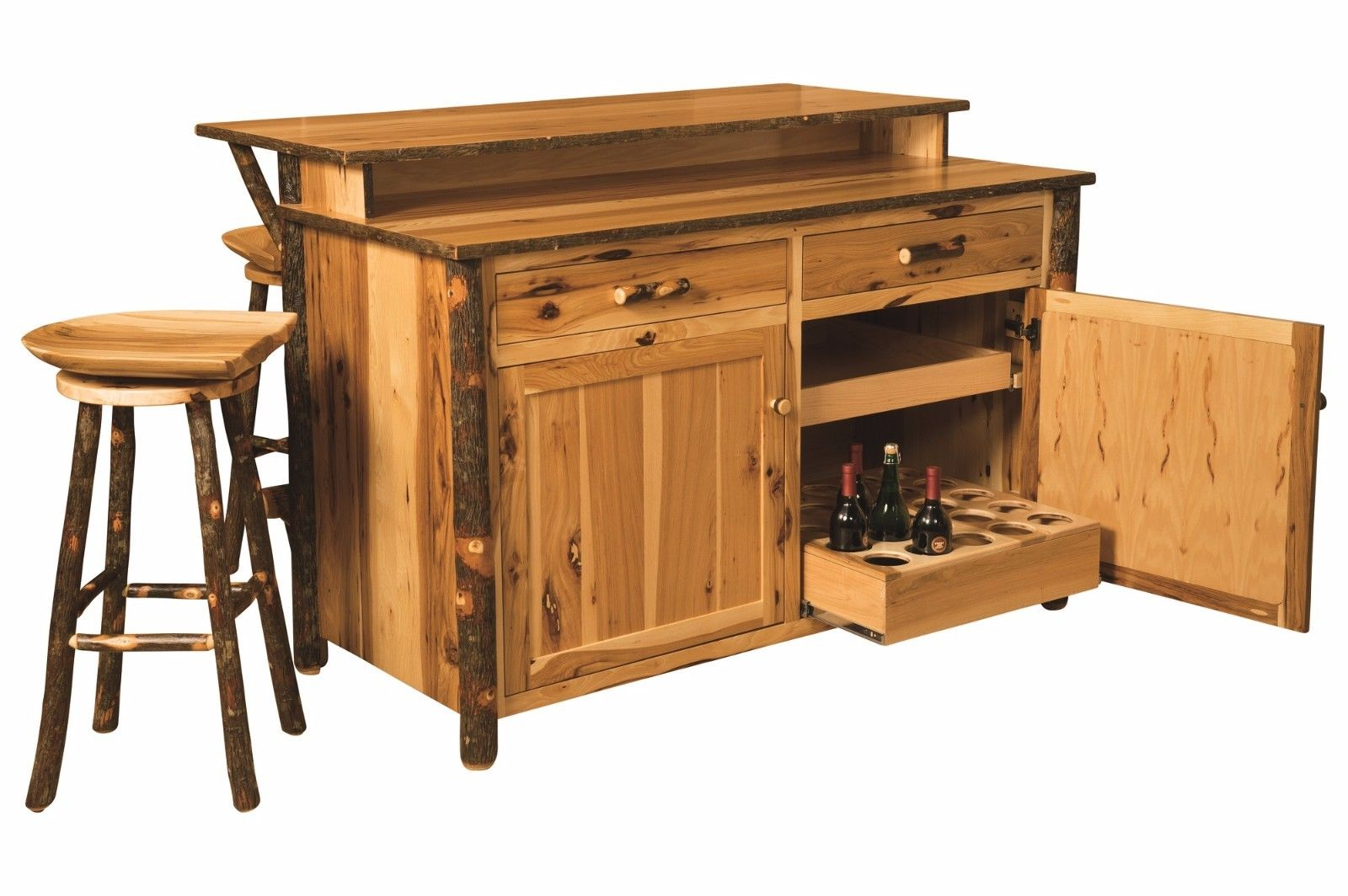 Amish Hickory Home Wine Bar Kitchen Island Set W Stools Surrey Street Rustic