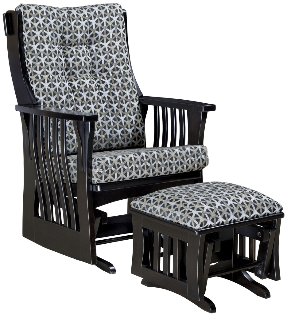 Amish Mission Slat Glider Chair W Ottoman