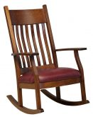 Amish Mission Craftsman Solid Wood Rocking Chair Rocker Bent Slat Upholstered
