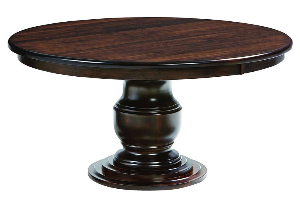 Amish ziglar round pedestal dining table surrey street for Solid wood round tables dining