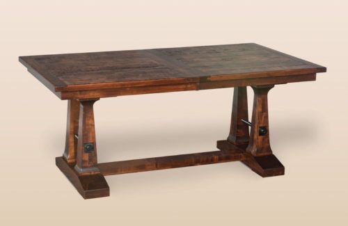 Amish Rustic Plank Trestle Dining Table