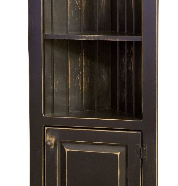 Amish Rustic Primitive Pine Farmhouse Corner Cabinet