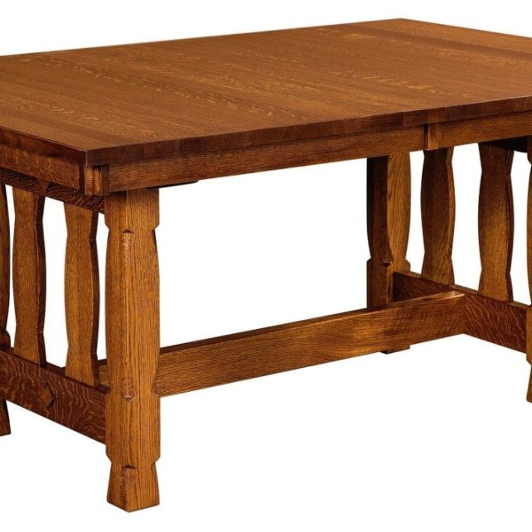 Amish Rock Island Mission Trestle Dining Table
