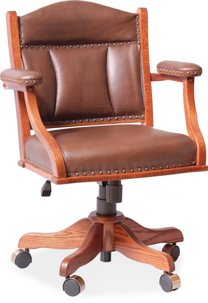 Amish Desk Arm Chair Leather Upholstery